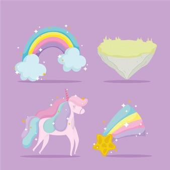 Conto de princesa, unicórnio, ícones de decoração de estrela de arco-íris desenho animado