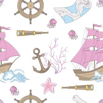 Conto de viagem ocean cruise seamless pattern