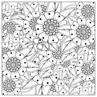 Contorne flores quadradas no estilo mehndi para colorir o ornamento de doodle em preto e branco desenhado à mão