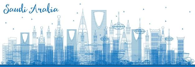 Contorne o horizonte da arábia saudita com marcos azuis. ilustração vetorial. viagem de negócios e conceito de turismo. imagem para cartaz de banner de apresentação e site.