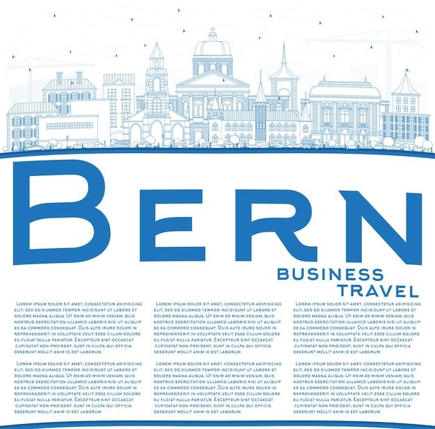 Contorne o horizonte da cidade de berna suíça com edifícios azuis e espaço de cópia. ilustração vetorial. viagem de negócios e conceito de turismo com arquitetura histórica. bern cityscape com pontos de referência.
