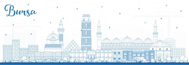 Contorne o horizonte da cidade de bursa turkey com edifícios azuis