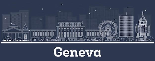Contorne o horizonte da cidade de genebra na suíça com edifícios brancos