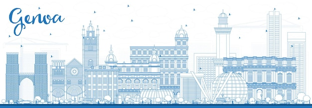 Contorne o horizonte da cidade de gênova itália com edifícios azuis. ilustração vetorial. viagem de negócios e conceito de turismo com arquitetura moderna. paisagem urbana de gênova com pontos turísticos.