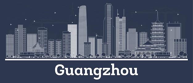 Contorne o horizonte da cidade de guangzhou china com edifícios brancos. ilustração vetorial. viagem de negócios e conceito com arquitetura moderna. paisagem urbana de guangzhou com pontos turísticos.