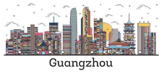 Contorne o horizonte da cidade de guangzhou china com edifícios de cor isolados no branco. ilustração vetorial. paisagem urbana de guangzhou com pontos turísticos.