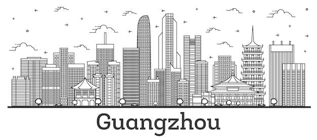 Contorne o horizonte da cidade de guangzhou china com edifícios modernos isolados no branco. ilustração vetorial. paisagem urbana de guangzhou com pontos turísticos.