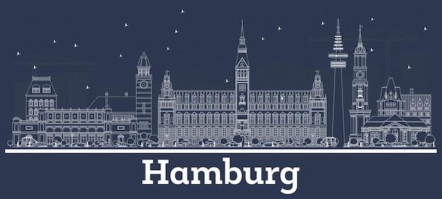 Contorne o horizonte da cidade de hamburgo na alemanha com edifícios brancos