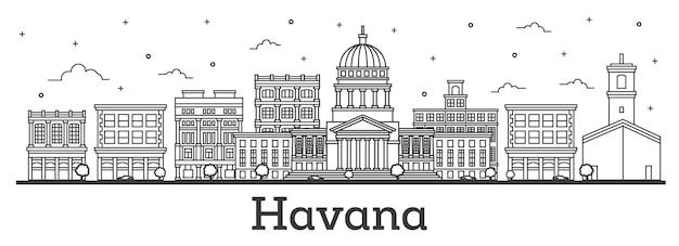 Contorne o horizonte da cidade de havana cuba com edifícios históricos