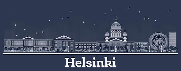 Contorne o horizonte da cidade de helsinque finlândia com edifícios brancos