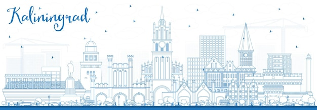 Contorne o horizonte da cidade de kaliningrado na rússia com edifícios azuis. ilustração vetorial. viagem de negócios e conceito de turismo com arquitetura histórica. kaliningrado, paisagem urbana com pontos turísticos.
