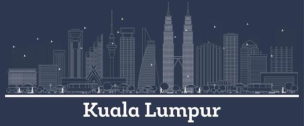 Contorne o horizonte da cidade de kuala lumpur na malásia com edifícios brancos. ilustração vetorial. viagem de negócios e conceito com arquitetura moderna. paisagem urbana de kuala lumpur com pontos turísticos.