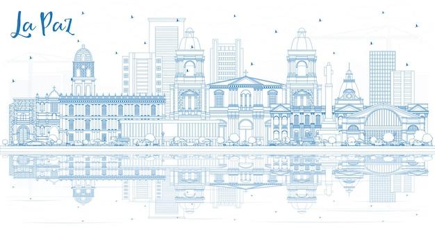Contorne o horizonte da cidade de la paz na bolívia com edifícios azuis e reflexos