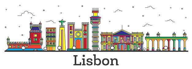 Contorne o horizonte da cidade de lisboa portugal com edifícios de cor isolados no branco. ilustração vetorial. vista da cidade de lisboa com pontos turísticos.