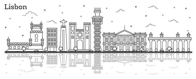 Contorne o horizonte da cidade de lisboa portugal com edifícios históricos e reflexões isoladas em branco. ilustração vetorial. vista da cidade de lisboa com pontos turísticos.