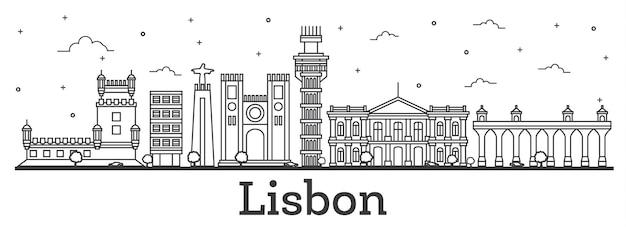 Contorne o horizonte da cidade de lisboa portugal com edifícios históricos isolados no branco. ilustração vetorial. vista da cidade de lisboa com pontos turísticos.