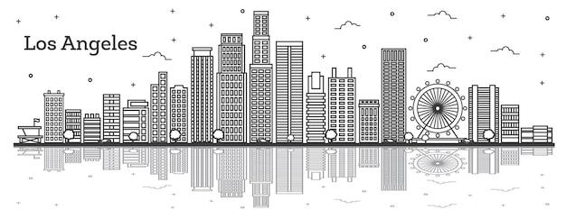 Contorne o horizonte da cidade de los angeles, califórnia, com edifícios modernos e reflexos