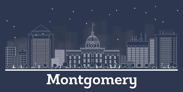 Contorne o horizonte da cidade de montgomery alabama com edifícios brancos. ilustração