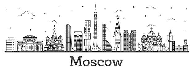 Contorne o horizonte da cidade de moscou na rússia com edifícios modernos e históricos isolados no branco. ilustração vetorial. paisagem urbana de moscou com pontos turísticos.