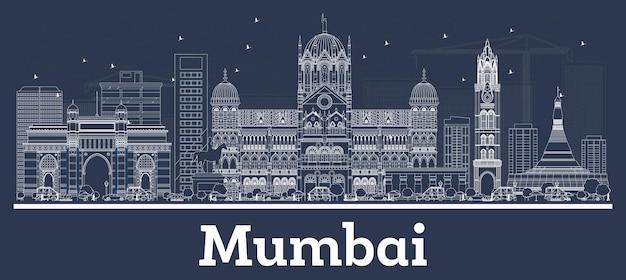 Contorne o horizonte da cidade de mumbai índia com edifícios brancos. ilustração vetorial. viagem de negócios e conceito com arquitetura moderna. paisagem urbana de mumbai com pontos turísticos.