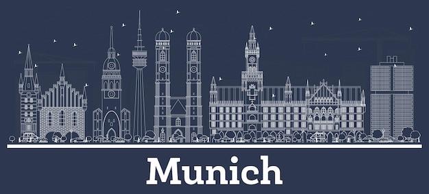Contorne o horizonte da cidade de munique alemanha com edifícios brancos. ilustração vetorial. viagem de negócios e conceito com arquitetura histórica. paisagem urbana de munique com pontos turísticos.