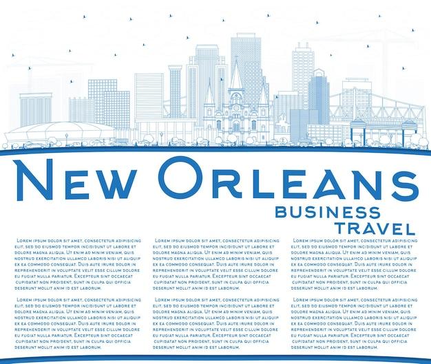 Contorne o horizonte da cidade de nova orleans e louisiana com edifícios azuis