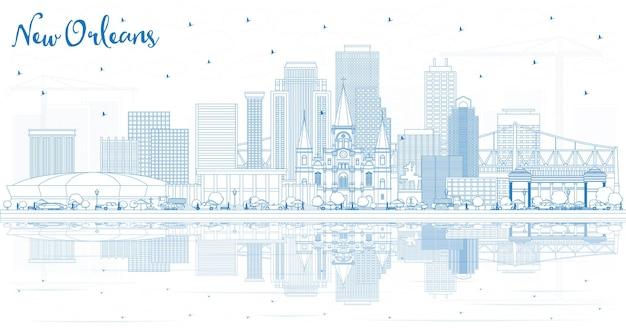 Contorne o horizonte da cidade de nova orleans louisiana com edifícios azuis e reflexões. ilustração vetorial. conceito de turismo com arquitetura moderna. new orleans eua cityscape com pontos turísticos.