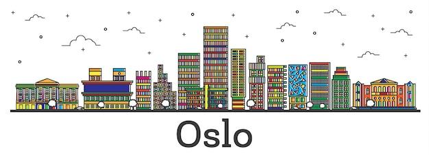 Contorne o horizonte da cidade de oslo na noruega com edifícios coloridos isolados no branco