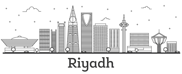 Contorne o horizonte da cidade de riyadh, na arábia saudita, com edifícios modernos isolados no branco