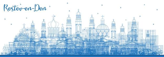 Contorne o horizonte da cidade de rostov-on-don na rússia com edifícios azuis