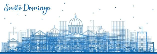 Contorne o horizonte da cidade de santo domingo, república dominicana, com edifícios azuis. ilustração vetorial. viagem de negócios e conceito de turismo com arquitetura histórica. santo domingo cityscape com marcos.