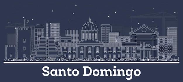 Contorne o horizonte da cidade de santo domingo, república dominicana, com edifícios brancos. ilustração vetorial. viagem de negócios e conceito com arquitetura histórica. santo domingo cityscape com marcos.