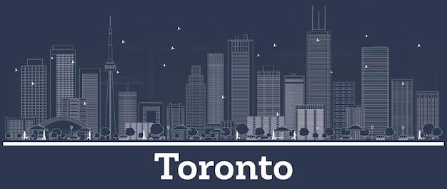 Contorne o horizonte da cidade de toronto canadá com edifícios brancos. ilustração vetorial. viagem de negócios e conceito com arquitetura moderna. paisagem urbana de toronto com pontos turísticos.