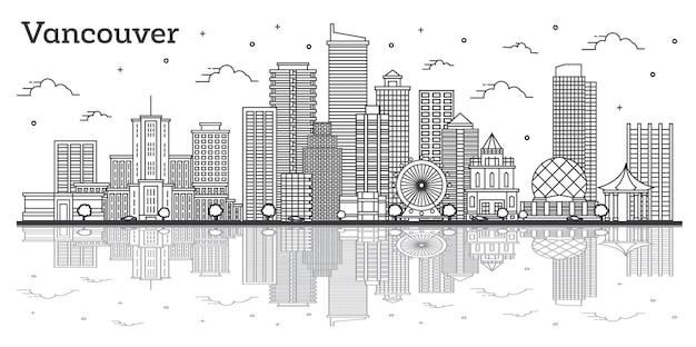 Contorne o horizonte da cidade de vancouver canadá com edifícios modernos e reflexões isoladas em branco. ilustração vetorial. paisagem urbana de vancouver com pontos turísticos.