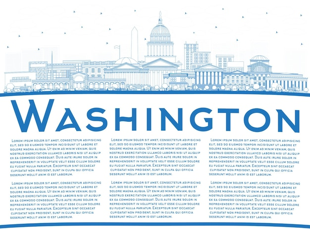 Contorne o horizonte da cidade de washington dc eua com edifícios azuis e espaço de cópia. ilustração vetorial. viagem de negócios e conceito de turismo com edifícios históricos. washington dc cityscape com pontos turísticos.