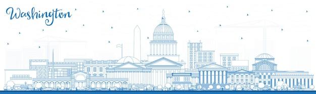 Contorne o horizonte da cidade de washington dc eua com edifícios azuis. ilustração vetorial. viagem de negócios e conceito de turismo com edifícios históricos. washington dc cityscape com pontos turísticos.