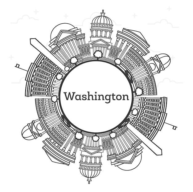 Contorne o horizonte da cidade de washington dc eua com edifícios modernos e espaço de cópia isolado no branco. ilustração vetorial. washington dc cityscape com pontos turísticos.