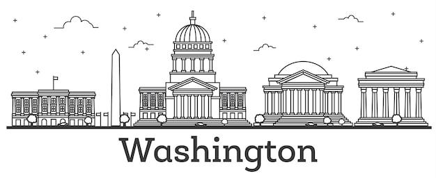 Contorne o horizonte da cidade de washington dc eua com edifícios modernos isolados no branco. ilustração. washington dc cityscape com pontos turísticos. Vetor Premium