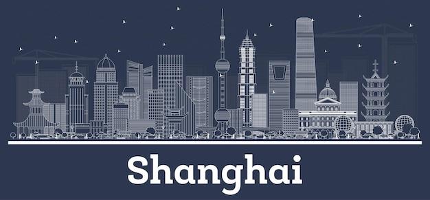 Contorne o horizonte da cidade de xangai china com edifícios brancos