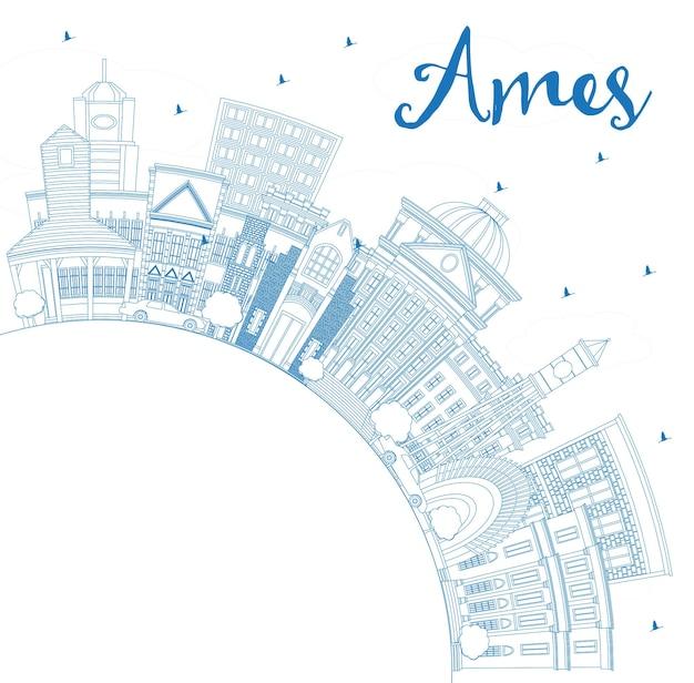Contorne o horizonte de ames iowa com edifícios azuis e espaço de cópia. ilustração vetorial. ilustração de viagens de negócios e turismo com arquitetura histórica.