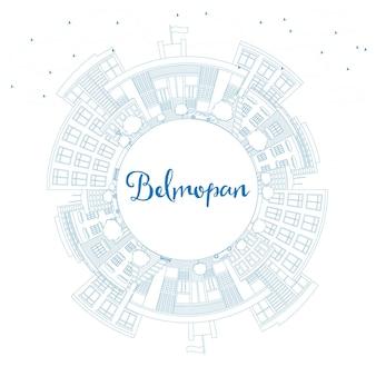 Contorne o horizonte de belmopan com edifícios azuis e espaço de cópia. ilustração vetorial. viagem de negócios e conceito de turismo com arquitetura moderna. imagem para cartaz de banner de apresentação e site.