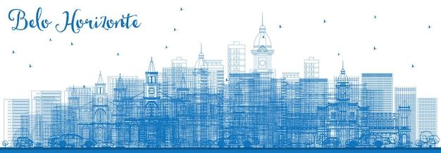 Contorne o horizonte de belo horizonte com edifícios azuis. ilustração vetorial. viagem de negócios e conceito de turismo com arquitetura moderna. imagem para cartaz de banner de apresentação e site.
