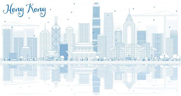 Contorne o horizonte de hong kong com edifícios e reflexos azuis. ilustração vetorial. viagem de negócios e conceito de turismo com arquitetura moderna.