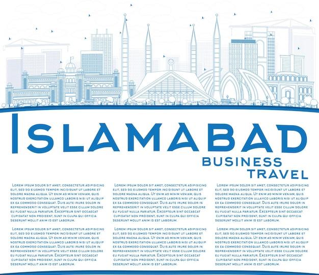 Contorne o horizonte de islamabad com edifícios azuis e espaço de cópia. ilustração vetorial. viagem de negócios e conceito de turismo com arquitetura histórica. imagem para cartaz de banner de apresentação e site.