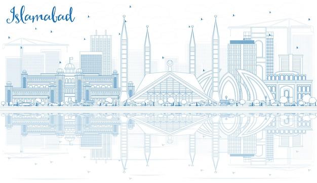 Contorne o horizonte de islamabad com edifícios azuis e reflexões. ilustração vetorial. viagem de negócios e conceito de turismo com arquitetura histórica. imagem para cartaz de banner de apresentação e site.