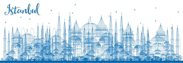 Contorne o horizonte de istambul com marcos azuis. ilustração vetorial. viagem de negócios e conceito de turismo com a cidade de istambul. imagem para cartaz de banner de apresentação e site.