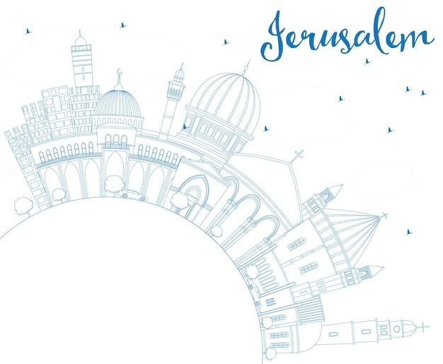 Contorne o horizonte de jerusalém com edifícios azuis e espaço de cópia. ilustração vetorial. viagem de negócios e conceito de turismo com arquitetura histórica. imagem para cartaz de banner de apresentação e site.