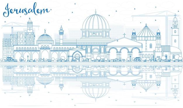 Contorne o horizonte de jerusalém com edifícios azuis e reflexos. ilustração vetorial. viagem de negócios e conceito de turismo com arquitetura histórica. imagem para cartaz de banner de apresentação e site