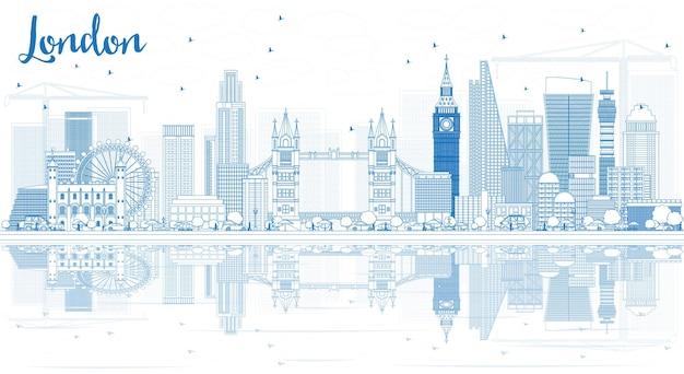 Contorne o horizonte de londres com edifícios azuis e reflexos. ilustração vetorial.