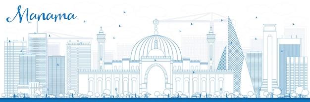 Contorne o horizonte de manama com edifícios azuis. viagem de negócios e conceito de turismo
